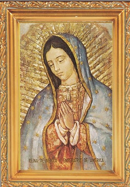 Our Lady of Guadalupe Antique Gold Framed Print - Full Color