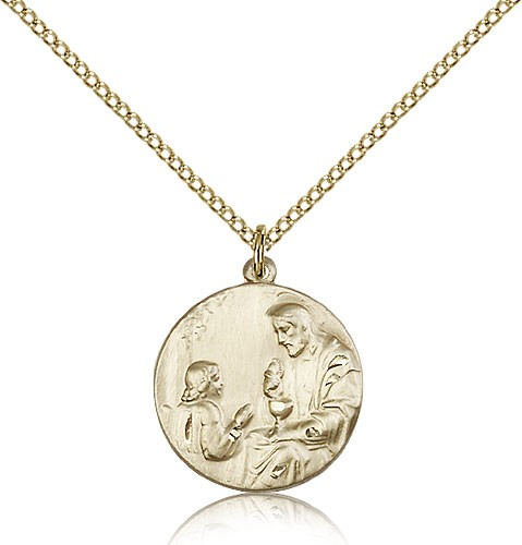 Girl's First Communion Medal - 14KT Gold Filled