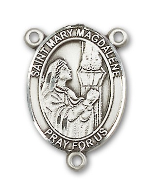 St. Mary Magdalene Rosary Centerpiece Sterling Silver or Pewter - Sterling Silver