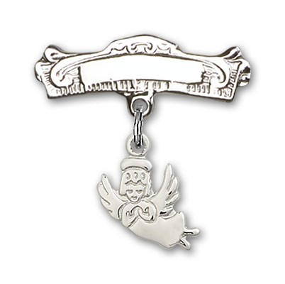 Baby Pin with Guardian Angel Charm and Arched Polished Engravable Badge Pin - Silver tone