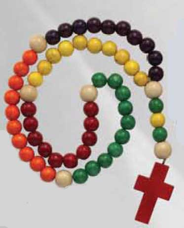 Childrens Wood Rosary - Multicolor - Full Color