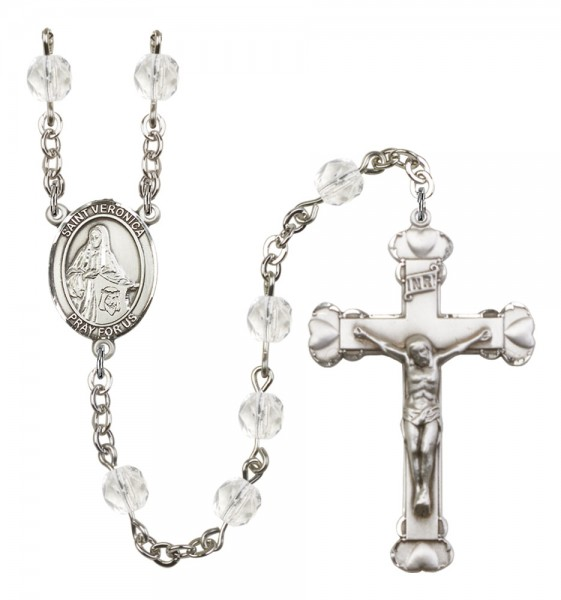 Women's St. Veronica Birthstone Rosary - Crystal