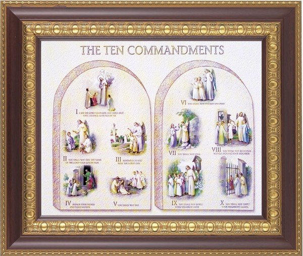 Catholic Ten Commandments Illustrated Framed Print - #126 Frame