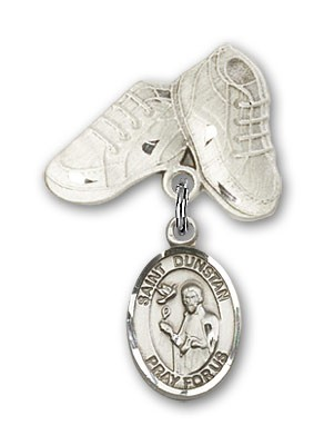 Pin Badge with St. Dunstan Charm and Baby Boots Pin - Silver tone