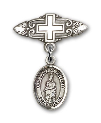 Pin Badge with Our Lady of Victory Charm and Badge Pin with Cross - Silver tone