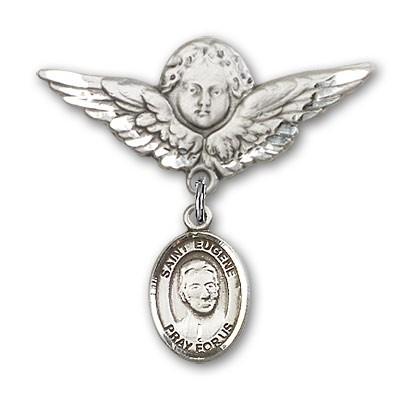 Pin Badge with St. Eugene de Mazenod Charm and Angel with Larger Wings Badge Pin - Silver tone