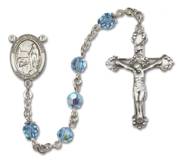 Our Lady of Lourdes Sterling Silver Heirloom Rosary Fancy Crucifix - Aqua