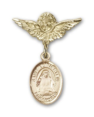 Pin Badge with St. Edith Stein Charm and Angel with Smaller Wings Badge Pin - 14K Yellow Gold
