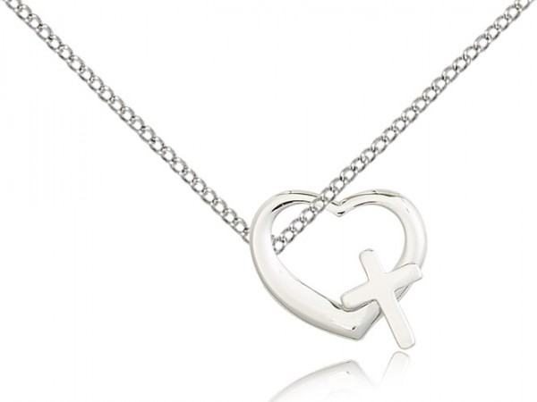 Heart and Cross Pendant - Sterling Silver