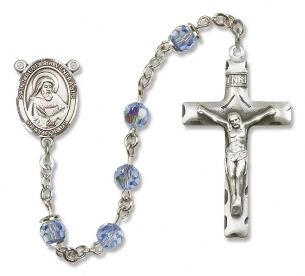 St. Bede the Venerable Sterling Silver Heirloom Rosary Squared Crucifix - Light Sapphire