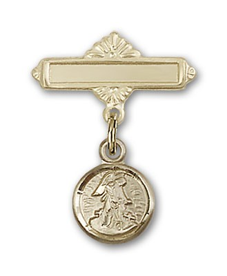 Baby Pin with Guardian Angel Charm and Polished Engravable Badge Pin - 14K Yellow Gold