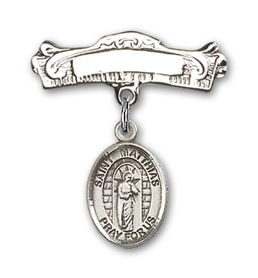 Pin Badge with St. Matthias the Apostle Charm and Arched Polished Engravable Badge Pin - Silver tone
