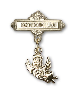 Baby Pin with Guardian Angel Charm and Godchild Badge Pin - 14K Solid Gold