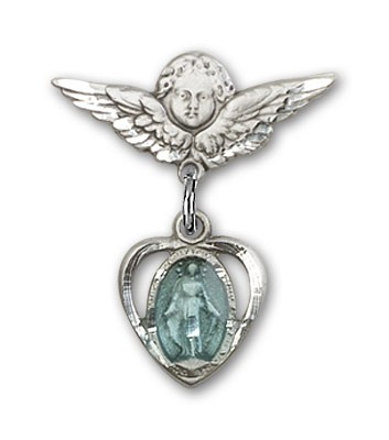 Pin Badge with Miraculous Charm and Angel with Smaller Wings Badge Pin - Silver | Blue