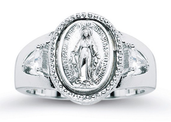 Women's Crystal Miraculous Medal Ring Sterling Silver - Sterling Silver