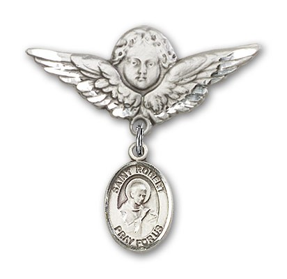 Pin Badge with St. Robert Bellarmine Charm and Angel with Larger Wings Badge Pin - Silver tone