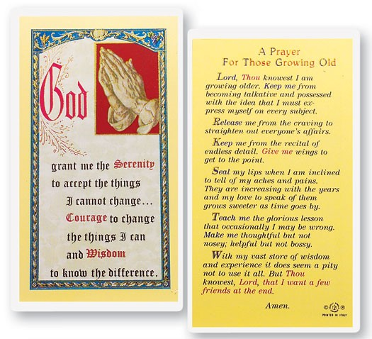 Prayer For Those Growing Old Laminated Prayer Cards 25 Pack - Full Color