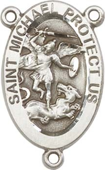 St. Michael National Guard Sterling Silver Rosary Centerpiece - Sterling Silver