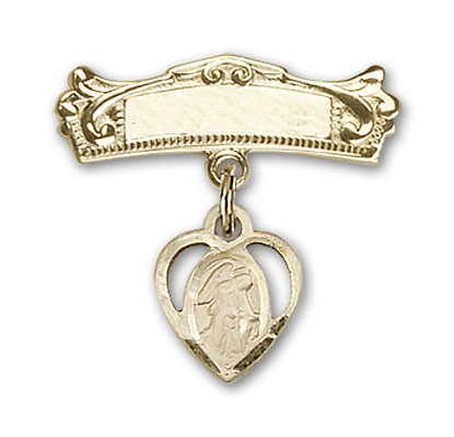 Pin Badge with Guardian Angel Charm and Arched Polished Engravable Badge Pin - 14K Yellow Gold
