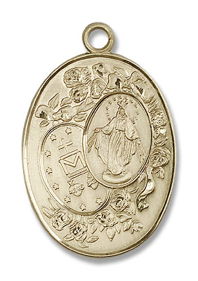 Large Miraculous Medal Necklace - 14K Solid Gold