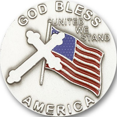 God Bless America Visor Clip - Antique Silver