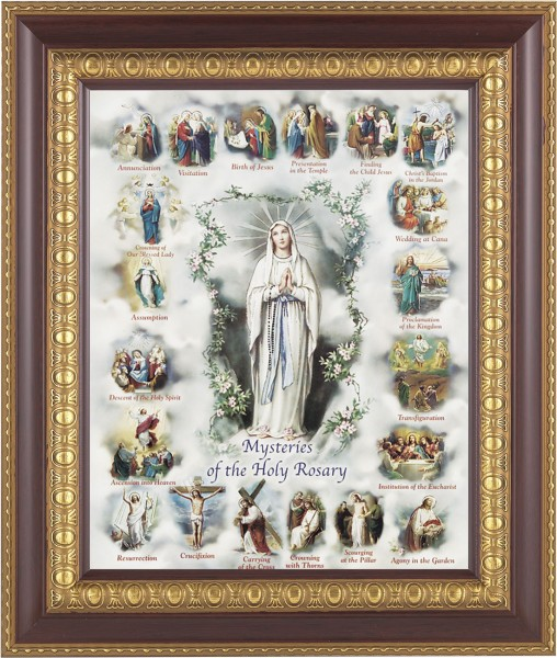 Mysteries of the Holy Rosary Illustrated Framed Print - #126 Frame