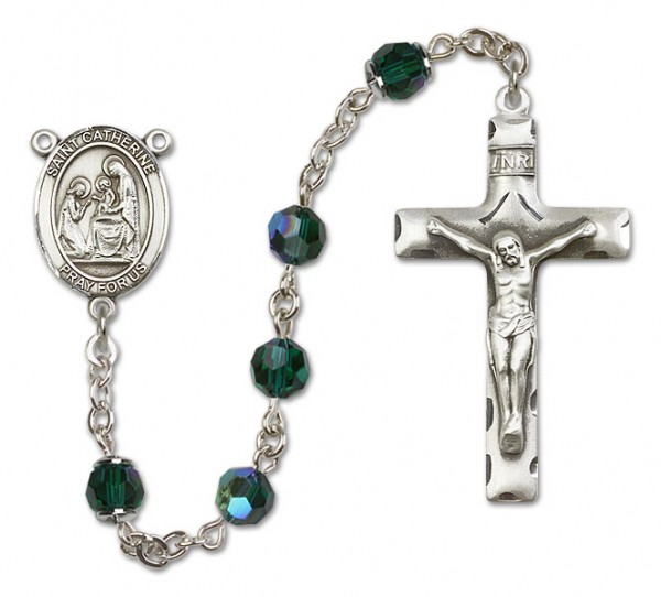 St. Catherine of Siena Sterling Silver Heirloom Rosary Squared Crucifix - Emerald Green