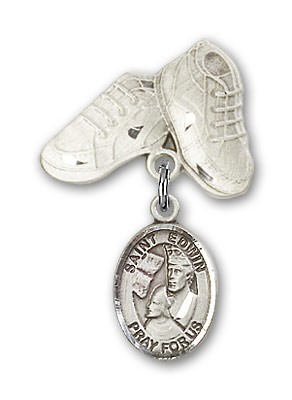 Pin Badge with St. Edwin Charm and Baby Boots Pin - Silver tone
