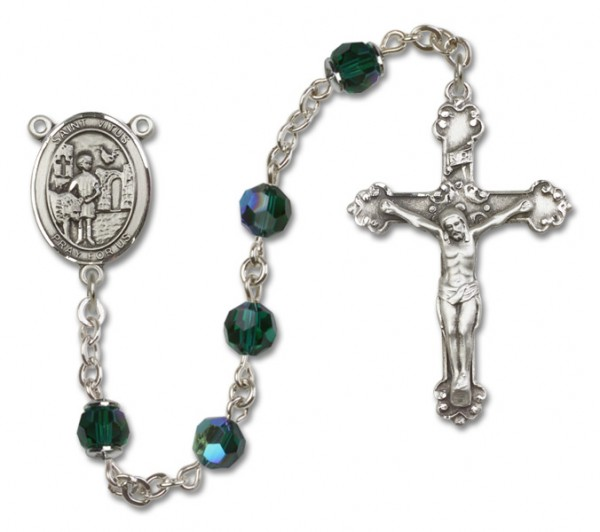 St. Vitus Sterling Silver Heirloom Rosary Fancy Crucifix - Emerald Green