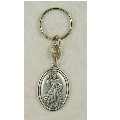 Divine Mercy Key Ring - Silver
