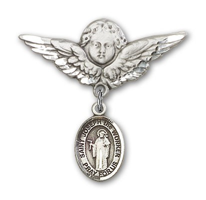 Pin Badge with St. Joseph the Worker Charm and Angel with Larger Wings Badge Pin - Silver tone