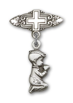 Baby Pin with Praying Boy Charm and Badge Pin with Cross - Silver tone