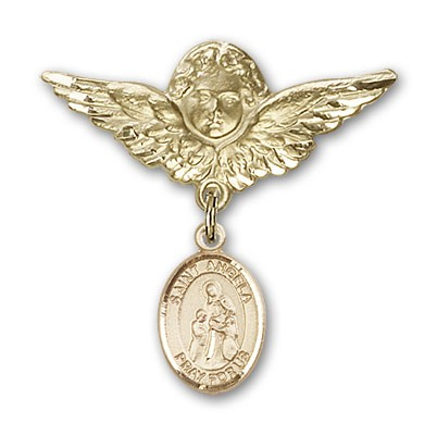 Pin Badge with St. Angela Merici Charm and Angel with Larger Wings Badge Pin - 14K Yellow Gold