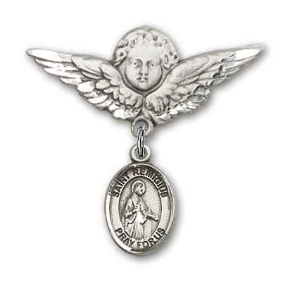 Pin Badge with St. Remigius of Reims Charm and Angel with Larger Wings Badge Pin - Silver tone