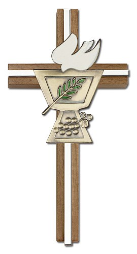 "Confirmation Chalice and Dove Wall Cross in Walnut Wood with Metal Inlay 6"" - Two-Tone Silver"