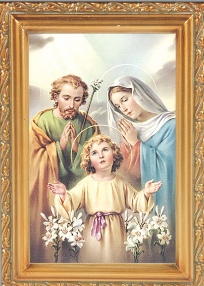 Holy Family Antique Gold Framed Print