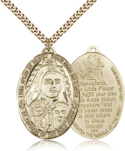 Large St. Therese Pendant - 14KT Gold Filled