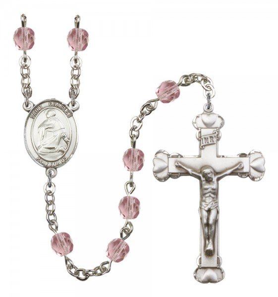 Women's St. Charles Borromeo Birthstone Rosary - Light Amethyst