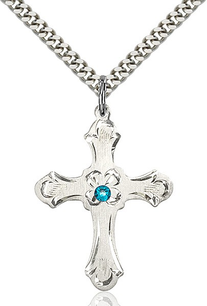 Budded Cross Pendant with Etched Border Birthstone Options - Zircon