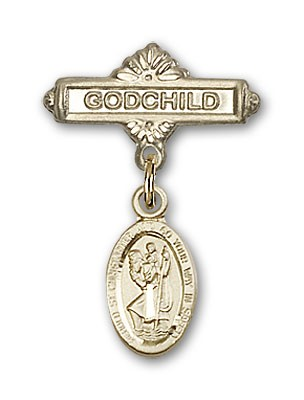 Pin Badge with St. Christopher Charm and Godchild Badge Pin - 14K Yellow Gold