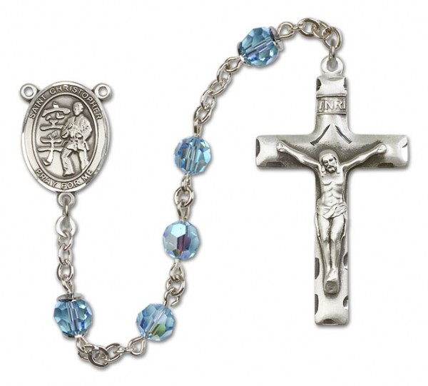 St. Christopher Karate Rosary Heirloom Squared Crucifix - Aqua