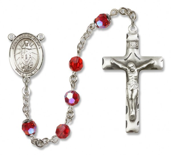 Our Lady of Tears Rosary Heirloom Squared Crucifix - Ruby Red