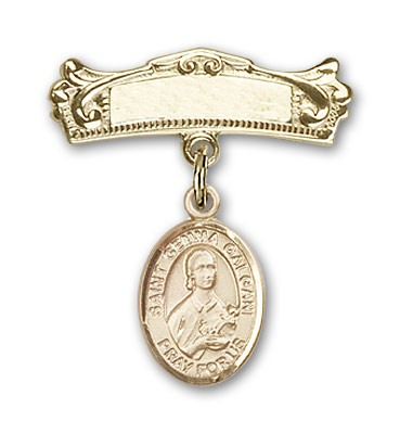 Pin Badge with St. Gemma Galgani Charm and Arched Polished Engravable Badge Pin - 14K Yellow Gold