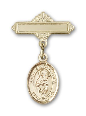 Pin Badge with St. Scholastica Charm and Polished Engravable Badge Pin - Gold Tone