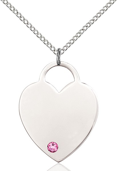 Large Women's Heart Pendant with Birthstone Options - Rose