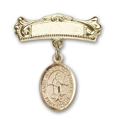 Pin Badge with St. Isidore the Farmer Charm and Arched Polished Engravable Badge Pin - 14K Yellow Gold