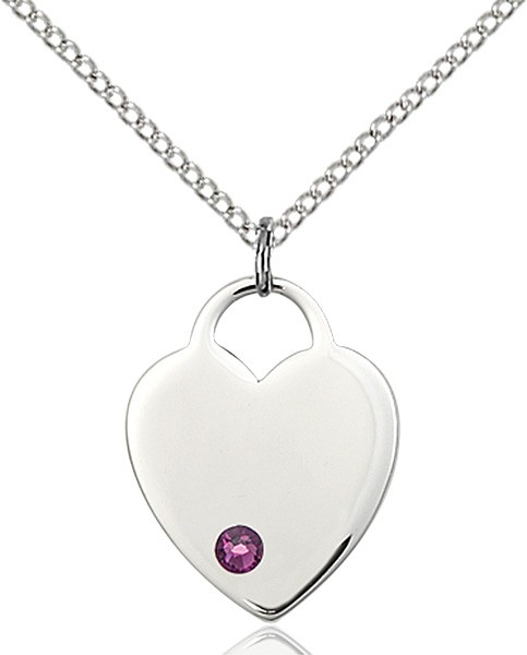 Medium Heart Shaped Pendant with Birthstone Options - Amethyst