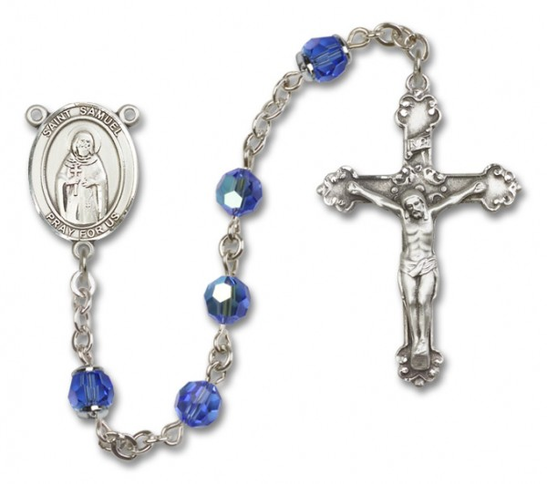 St. Samuel Rosary Heirloom Fancy Crucifix - Sapphire