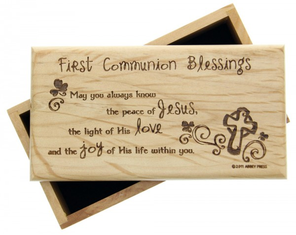 "Irish First Communion Box, Wood - 7""W - Brown"