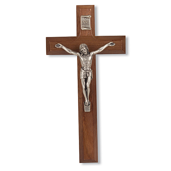 Walnut Wall Cross with Pewter Jesus and INRI Plaque - 7 inch - Brown